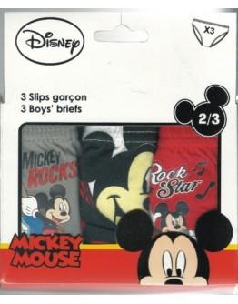 Disney 3xSlip Αγόρι Mickey Mouse 100% Cotton